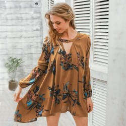 Women's Casual Floral Blouse Casual Short Sleeve Casual Style SIMPLE