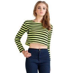 Mini Bee Striped Blouse Long Sleeve Green and Pink Shirt Women