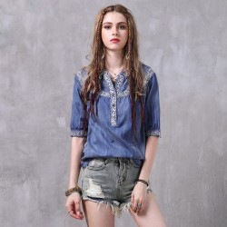 Women's Blouse Half Sleeve Floral Loose Casual Fashion Style
