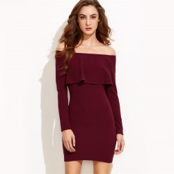 Elegant Burgundy Women's Dress Sexy Pleated Style Winter Style