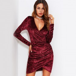 Sexy Female Velvet Party Dress Stylish Simple Style