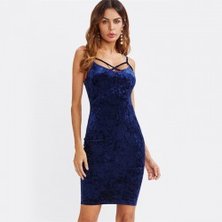 Women's Stylish Velvet Blue Dress Stylish Sexy Summer Style