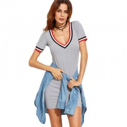 Women's Basic Casual Short Short Summer Sexy Dress Gray