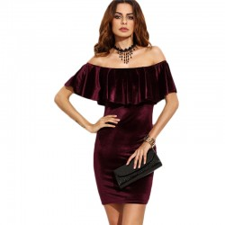 Sexy Dress Elegant Female Short Sleeve Winter Style Party