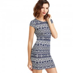 Women's Tribal Summer Dress Brief Vintage Sexy Casual Style