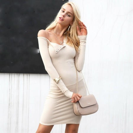 Fashion Elastic Long Sleeve Women's Dress Fashionable Style