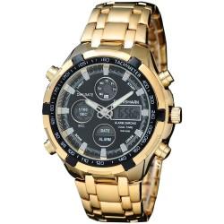 Relógio Esporte Classico Digital Analogico Quartzo Masculino Dourado