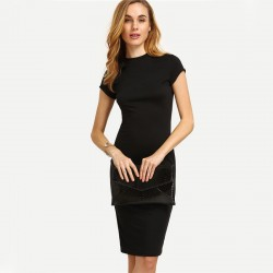 Stylish Dress Formal Simple Formal Black Short Sleeve Dress