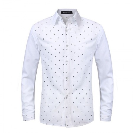 Casual Shirt Men's Long Sleeve Skull Pattern