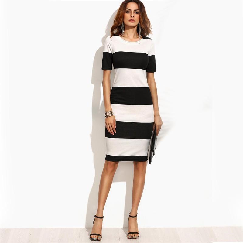2823173aba Vestido Listrado Feminino Elegante Estilo Casual Manga Curta