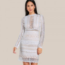 Elegant Lace Women's Party Dress Sexy Casual Long Sleeve