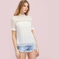 Blusa de Renda Feminina Branca Elegante Estilo Verão Colarinho Tunica