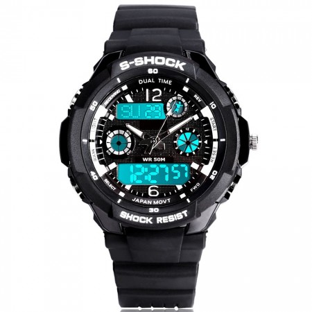 Relógio Aquatico Esportivo Masculino Digital e Analogico Borracha