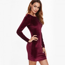 Women's Velvet Dress Elante Casual Style Sexy Long Sleeve