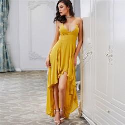 Vestido Longo de Feminino Festa Elegante Estilo Formal Basico Amarelo