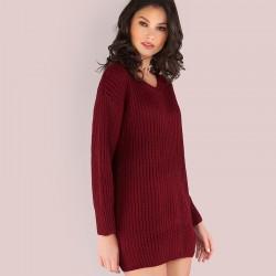Vestido Sweater Feminina Casual Estilo Inverno Manga comprida Curto