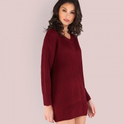 Women Casual Sweater Dress Winter Style Short Sleeve Short