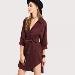 Elegant Women's Casual Dress Asymmetric Female Burgundy