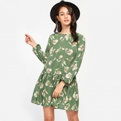 Women's Casual Floral Dress Autumn Style Casual