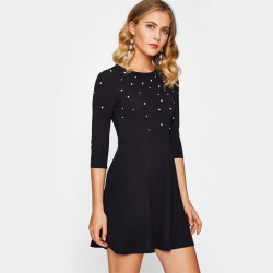 Women's Casual Dress Casual Style Elegant Embellished Pearl