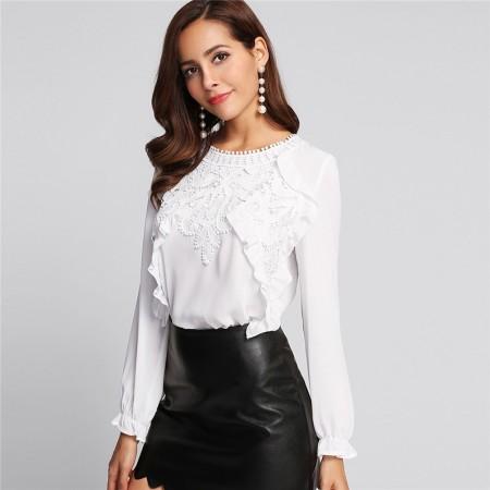Women's Blouse Long Sleeve Pleat Cuff Button Stylish