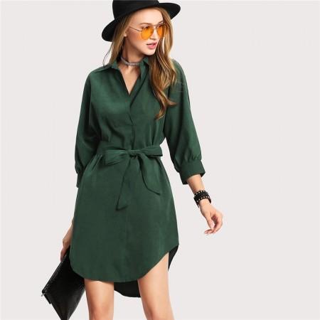 Elegant Dress Green Elegant Asymmetrical Formal Style Short