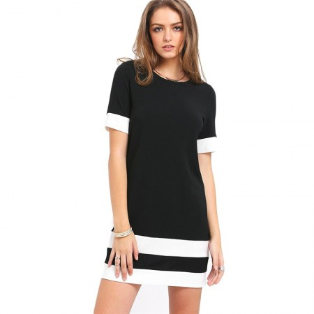 Women's Striped Dress Casual Short Style Black White Short Sleeve