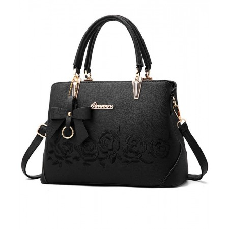 Beautiful Women's Casual Bag With Bow And Rose Flower Handles Leather