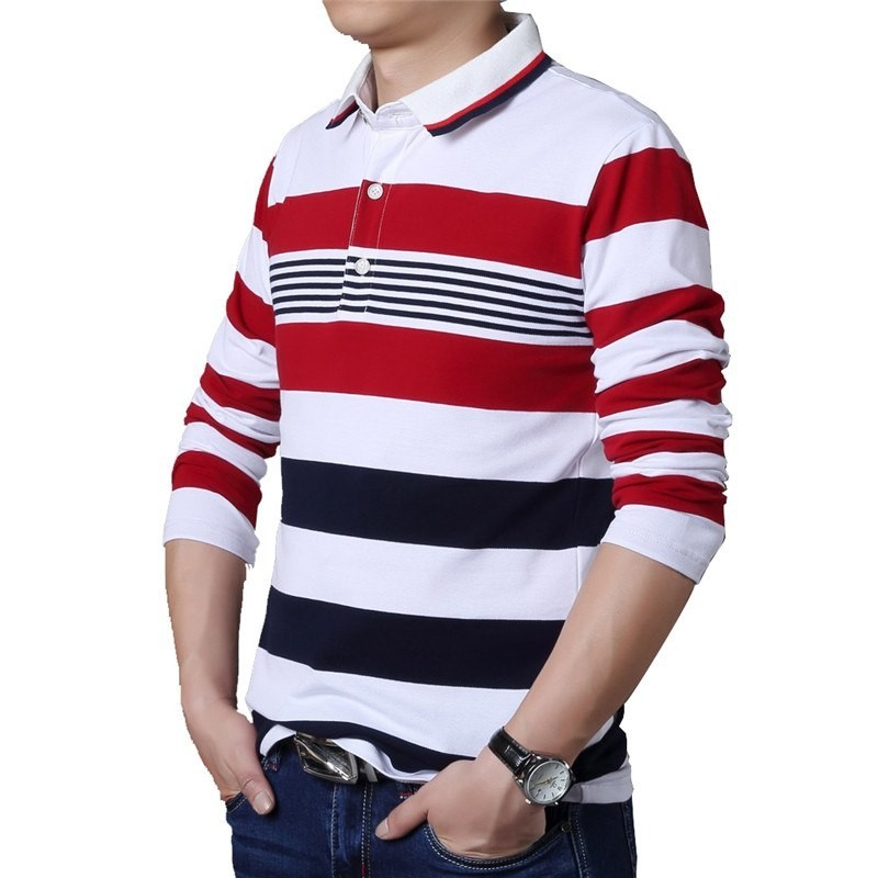 T Shirt Polo Striped Stylish Men's Long Sleeve