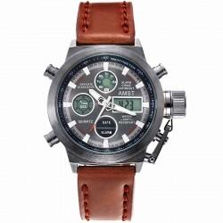 Relógio Militar Masculino Pulseira em Couro Quartzo Aço Inoxidável