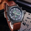 Watch Military Male Bracelet Leather Quartz Stainless Steel
