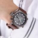 Relógio Militar Masculino Pousera em Couro Quartzo Aço Inoxidável