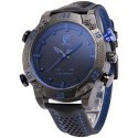 Watch Sports Racing Blue Quartz Bracelet Stainless Leather