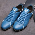 Sapatenis Social Masculino em Couro Azul Calçados Elegante Sapato Casual