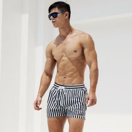 Moda Short Listrado Masculino Verão Estampado Casual Férias Usar Praia