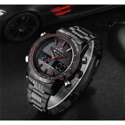 Clock Estportivo Male Quartz Analog Digital Red