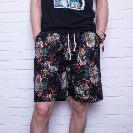 Men's Floral Short Print Casual Fashion Youth Urban Funk