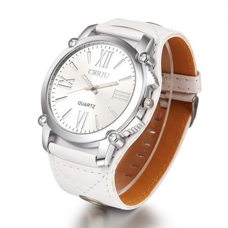 Relógio Feminino Elegante Casual em Quartzo Branco de Couro Preto