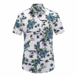 Camisa Floral Macho Moda Estampa Folhagem Moda Havaiana Masculina