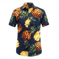 Men's Floral Print Pineapple Shirt Hawaiian Male Fashion