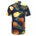 Men's Floral Print Pineapple Shirt Hawaiian Male Fashion