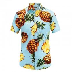 Camisa Abacaxi Azul Claro Floral Masculina Estampada Havaiana
