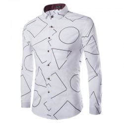 Casual Shirt Men's White Geometric Printed Long Sleeve