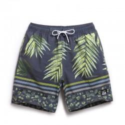 Bermuda Tropical Folhas de Palmeira Masculina Estampado Escuro Listras