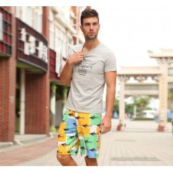 Bermuda Print Colored Men Casual Fish Fabric Haute Couture