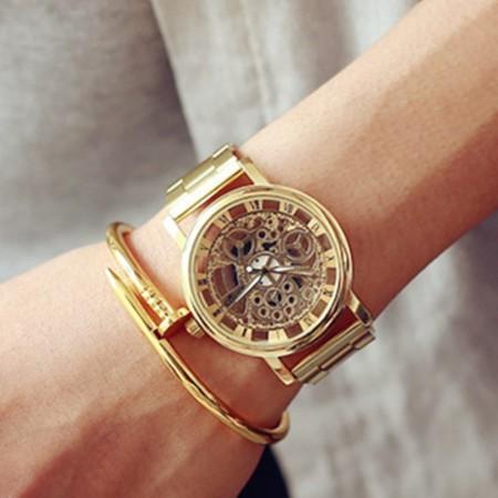 Relogio Elegante Luxo Masculino Barato Dourado / Ouro / Prata Esqueletico