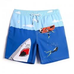 Short de Banho Azul Estampado com Barco e Tubarão Masculino Curto