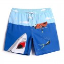 Printed Blue Bathing Suit with Short Boat and Shark