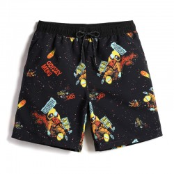 Short Black Galaxy Men's Stylish Whiskey Short Print