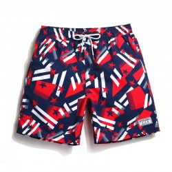 Short Casual Australiano Masculino Estampa Bandeira Abstrada